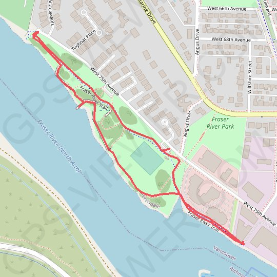 Fraser River Park GPS track, route, trail